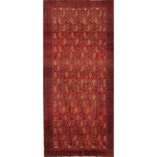 """Traditional Paisley Balouch Hand Made Wool Persian Oriental Rug - 10'7"""" x 4'3"""" runner"""