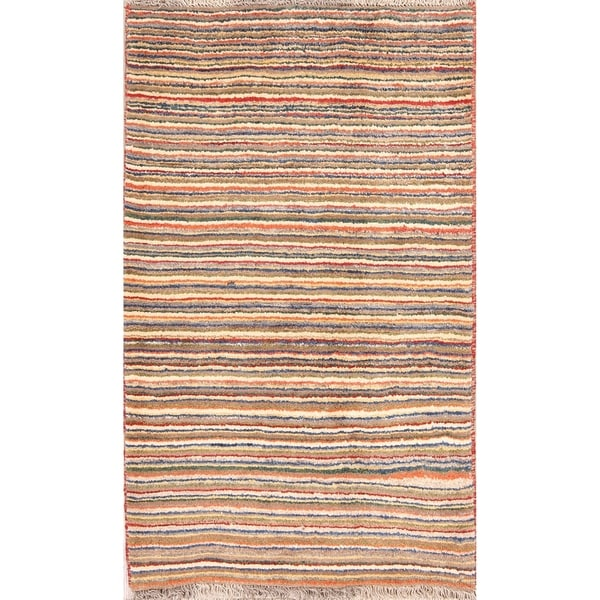 "Striped Color-Full Modern Gabbeh Shiraz Handmade Persian Area Rug - 4'8"" x 2'10"""