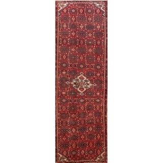 """Floral Hand Knotted Woolen Hamedan Vintage Persian Carpet Rug - 12'3"""" x 3'11"""" runner"""