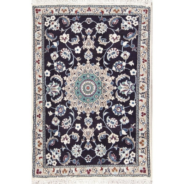 Persian Hand Knotted Nain Wool And Silk Area Rug Ebth: Shop Hand Knotted Charcoal Floral Nain Persian Wool Rug