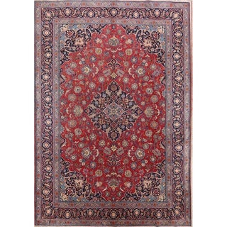 "Floral Kashan Hand Knotted Wool Vintage Persian Carpet Area Rug - 12'1"" x 8'5"""