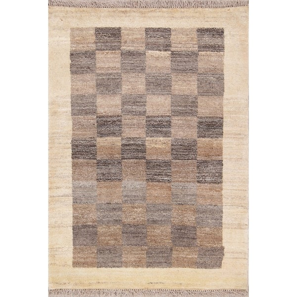 "Checked Gabbeh Zolanvari Shiraz Handmade Persian Area Rug - 3'10"" x 2'9"""