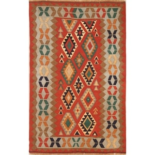 "Geometric Kilim Qashqai Shiraz Hand Woven Wool Persian Area Rug - 5'6"" x 3'6"""