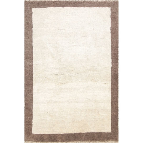 """Hand Knotted Wool Contemporary Ivory Gabbeh Shiraz Persian Area Rug - 6'2"""" x 4'1"""""""
