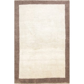 "Hand Knotted Wool Contemporary Ivory Gabbeh Shiraz Persian Area Rug - 6'2"" x 4'1"""