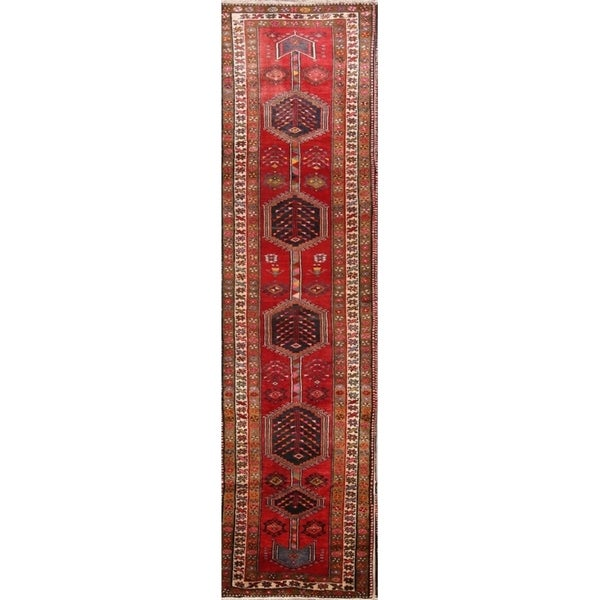 "Geometric Tribal Heriz Hand Knotted Wool Vintage Persian Rug - 13'2"" x 3'5"" runner"