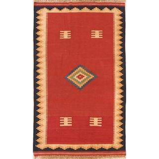 "Tribal Kilim Shiraz Hand Woven Woolen Persian Carpet Rug - 5'6"" x 3'3"" runner"