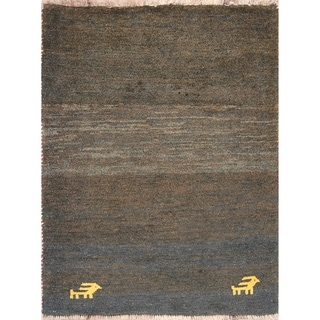 "Little Animals Symbol Gabbeh Shiraz Handmade Persian Area Rug - 4'0"" x 3'2"""