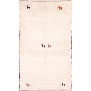 "Little Animals Tribal Ivory Gabbeh Shiraz Handmade Persian Area Rug - 4'10"" x 2'9"""