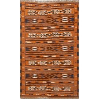 "Oriental Flat-Woven Rust Kilim Balouch Hand Woven Persian Area Rug - 6'0"" x 3'8"""