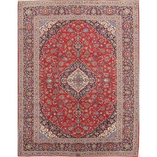 "Floral Kashan Hand Knotted Wool Vintage Persian Carpet Area Rug - 13'6"" x 9'4"""