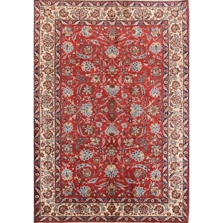 "Floral Hand Knotted Woolen Isfahan Vintage Persian Area Rug - 10'0"" x 7'2"""