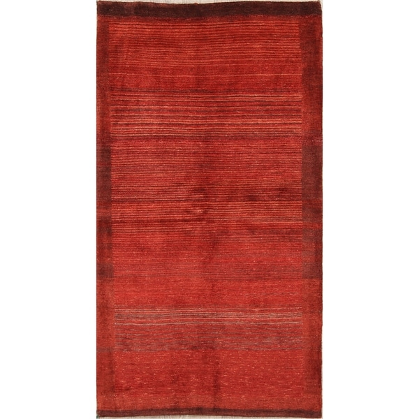 "Handmade Wool Vegetable Dye Gabbeh Zolanvari Persian Rug - 6'3"" x 3'3"" runner"