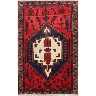 "Handmade Woolen Geometric Tribal Hamedan Persian Area Rug - 5'4"" x 3'6"""