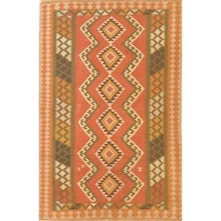 """Geometric Tribal Kilim Qashqai Shiraz Hand Woven Persian Rug - 5'1"""" x 3'3"""""""