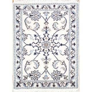 """Hand Knotted Wool and Silk Floral Nain Persian Area Rug - 2'10"""" x 1'10"""""""