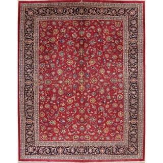"""Floral Kashan Handmade Wool Vintage Persian Carpet Area Rug - 12'7"""" x 9'10"""""""