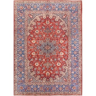 "Antique Floral Hand Knotted Wool Isfahan Persian Area Rug Carpet - 11'9"" x 8'5"""