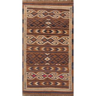 "Geometric Kilim Balouch Hand Woven Wool Persian Tribal Carpet Rug - 6'1"" x 3'5"" runner"