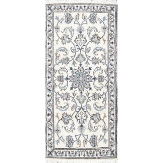"""Hand Knotted Wool Ivory Floral Nain Persian Oriental Carpet Rug - 4'7"""" x 2'1"""" runner"""