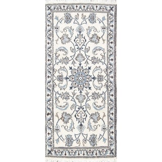 "Hand Knotted Wool Ivory Floral Nain Persian Oriental Carpet Rug - 4'7"" x 2'1"" runner"