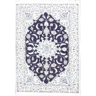 """Hand Knotted Wool and Silk Nain Persian Floral Area Rug - 6'10"""" x 4'1"""""""