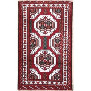 "Geometric Tribal Balouch Turkoman Hand Knotted Persian Area Rug - 3'8"" x 2'8"""
