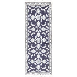 """Floral Navy Blue Nain Hand Knotted Wool Persian Oriental Rug - 6'5"""" x 2'5"""" runner"""