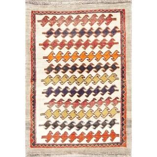 "Handmade Geometric Paisley Modern Gabbeh Shiraz Persian Area Rug - 5'4"" x 3'9"""