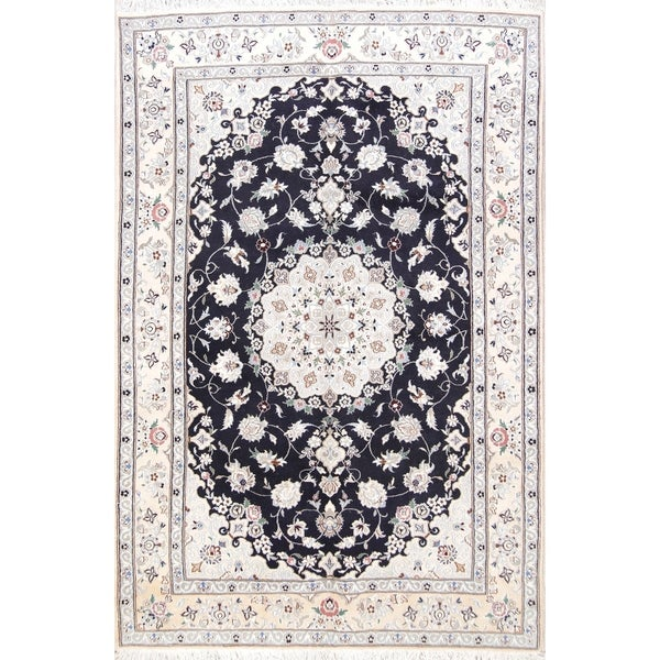 """Floral Navy Blue Nain Hand Knotted Wool and Silk Persian Area Rug - 9'7"""" x 6'5"""""""