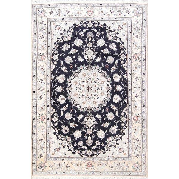 Floral Navy Blue Nain Hand Knotted Wool And Silk Persian Area Rug 9 7 X 6 5 On Sale Overstock 25639161