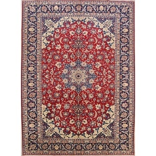 """Floral Najafabad Hand Knotted Isfahan Vintage Persian Large Area Rug - 13'1"""" x 9'6"""""""