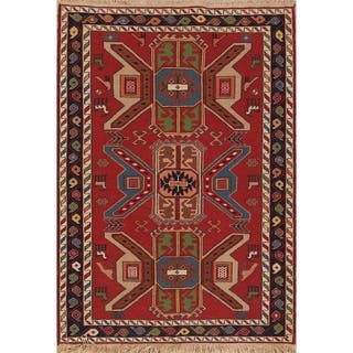 "Tribal Animals Kilim Shiraz Hand Woven Woolen Persian Area Rug - 4'11"" x 3'6"""