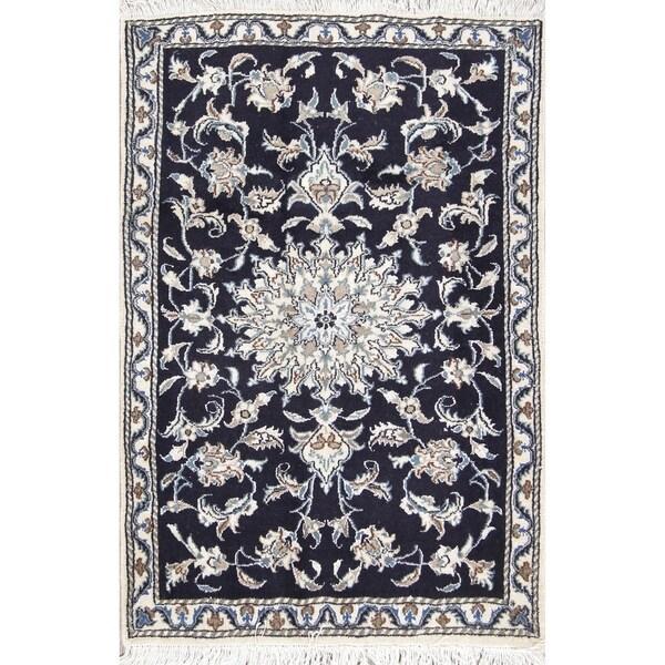 "Hand Knotted Black Floral Nain Persian Wool Rug - 4'3"" x 2'10"""