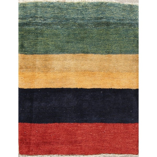"""Striped Gabbeh Zolanvari Hand Knotted Woolen Persian Area Rug - 3'6"""" x 2'10"""""""