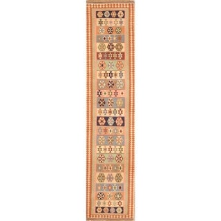 "Oriental Kilim Qashqai Shiraz Hand Woven Wool Persian Rug - 9'10"" x 2'3"" runner"