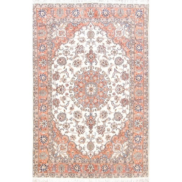 """Floral Medallion Tabriz Wool Hand Knotted Persian Area Rug - 9'10"""" x 6'4"""""""