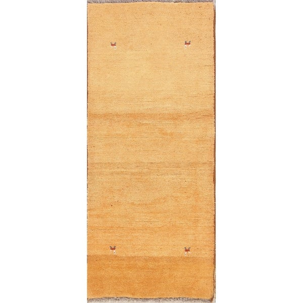 "Contemporary Gabbeh Shiraz Hand Knotted Woolen Persian Rug - 6'6"" x 2'10"" runner"