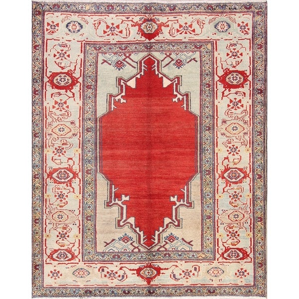 """Oriental Sultanabad Hand Knotted Wool Vintage Persian Area Rug - 6'6"""" x 5'1"""""""