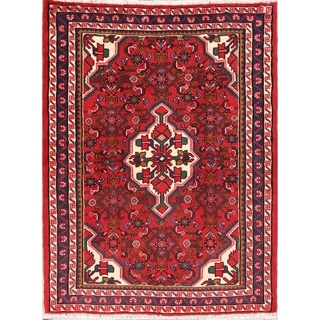 """Floral Red Hamedan Hand Knotted Woolen Persian Carpet Area Rug - 4'10"""" x 3'9"""""""
