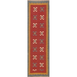 "Geometric Kilim Shiraz Hand Woven Woolen Persian Tribal Carpet Rug - 9'3"" x 2'9"" runner"