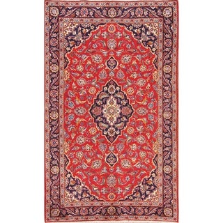 "Traditional Floral Kashmar Hand Knotted Vintage Persian Area Rug - 6'9"" x 4'2"""