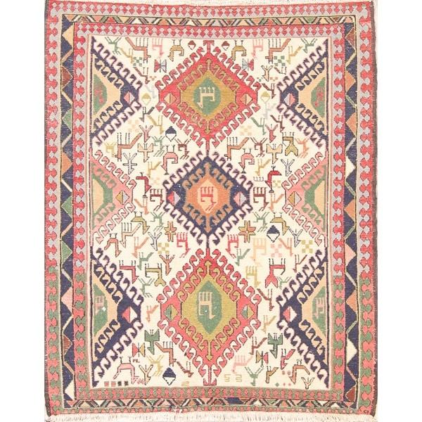 "Tribal Animal Sumak Kilim Hand Woven Persian Square Area Rug - 4'3"" x 3'6"" square"