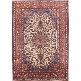 """Floral Hand Knotted Wool Isfahan Vintage Persian Large Area Rug - 13'0"""" x 8'11"""""""