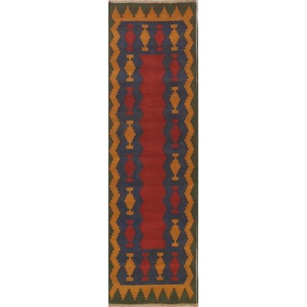 "Geometric Kilim Shiraz Hand Woven Wool Persian Tribal Carpet Rug - 9'9"" x 2'11"" runner"
