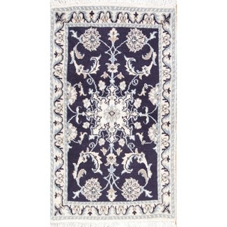 """Hand Knotted Wool and Silk Blue Floral Nain Persian Area Rug - 3'1"""" x 1'10"""""""