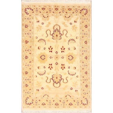 """Floral Gold Color Oushak Chobi Pakistan Hand Knotted Oriental Area Rug - 4'10"""" x 3'2"""""""