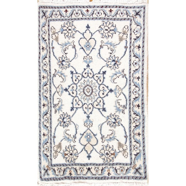 "Hand Knotted Wool Floral Nain Persian Oriental Carpet Area Rug - 3'1"" x 1'10"""