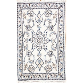 """Hand Knotted Wool Floral Nain Persian Oriental Carpet Area Rug - 3'1"""" x 1'10"""""""