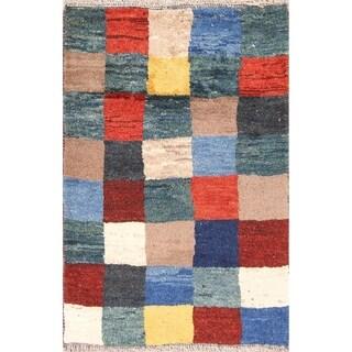 "Checked Design Modern Gabbeh Shiraz Handmade Wool Persian Rug - 4'1"" x 2'9"" runner"